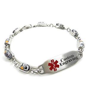 【送料無料】ブレスレット アクセサリ― アラートブレスレットスチールガラスmyiddr medical alert bracelet for women with engraving 5mm steel amp; glass