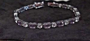 【送料無料】ブレスレット アクセサリ― ライラックスターリングシルバーラインブレスレットlilac and clear cz sterling silver 714 line bracelet