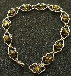 【送料無料】ブレスレット アクセサリ― スターリングシルバーバルトグリーンアンバーブレスレット#sterling silver baltic green amber bracelet women rare 5 su