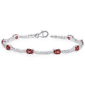 【送料無料】ブレスレット アクセサリ― ガーネットスターリングシルバーブレスレット425 ct oval red garnet sterling silver bracelet