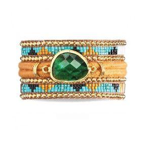 【送料無料】ブレスレット アクセサリ― カフブレスレットイエローストーンサイズボウルcuff bracelet * hipanema * yellowstonesize m 18cm with bowl