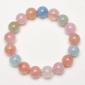 【送料無料】ブレスレット アクセサリ― カラフルビーズブレスレットストレッチ12mm natural colorful morganite crystal gem stretch beads bracelet mgbb005