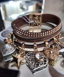 【送料無料】ブレスレット アクセサリ― ビビブラウンレザーストランドブレスレットスワロフスキークリスタルbibi bijoux brown leather 3 strand charm bracelet with swarovski crystals bnwt