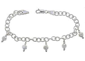 【送料無料】ブレスレット アクセサリ― イタリアソリッドスターリングシルバーオーバルリンクチェーンブレスレットビーズitalian solid sterling silver 8 oval link chain charm bracelet with ball beads