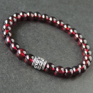 【送料無料】ブレスレット アクセサリ― ガーネットスターリングシルバーブレスレットビーズカレンnatural garnet sterling silver bracelet men women om bead gemstone diykaren 671