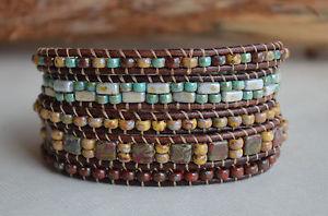 【送料無料】ブレスレット アクセサリ― ラップブレスレットマルチカラービーズレザーファッションジュエリーラップfive wrap bracelet multi color beaded leather wrap fashion jewelry handmade