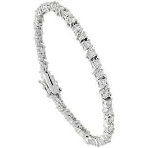 【送料無料】ブレスレット アクセサリ― スターリングシルバーテニスブレスレット178cm sterling silver 425 ct cz stones slash limbs tennis bracelet