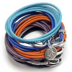 【送料無料】ブレスレット アクセサリ― デザイナースターリングシルバーサンクリストファーレザーストラップdesigner sterling silver st christopher leather strap for her 12 colors