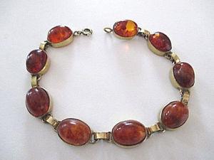 【送料無料】ブレスレット アクセサリ― ビンテージブレスレットオレンジvintage bracelet gilt amber