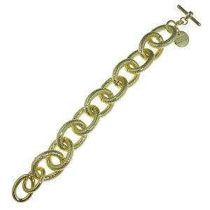 【送料無料】ブレスレット アクセサリ― ゴールドメッキサークルリンクブレスレット18k gold plated textured circle link bracelet