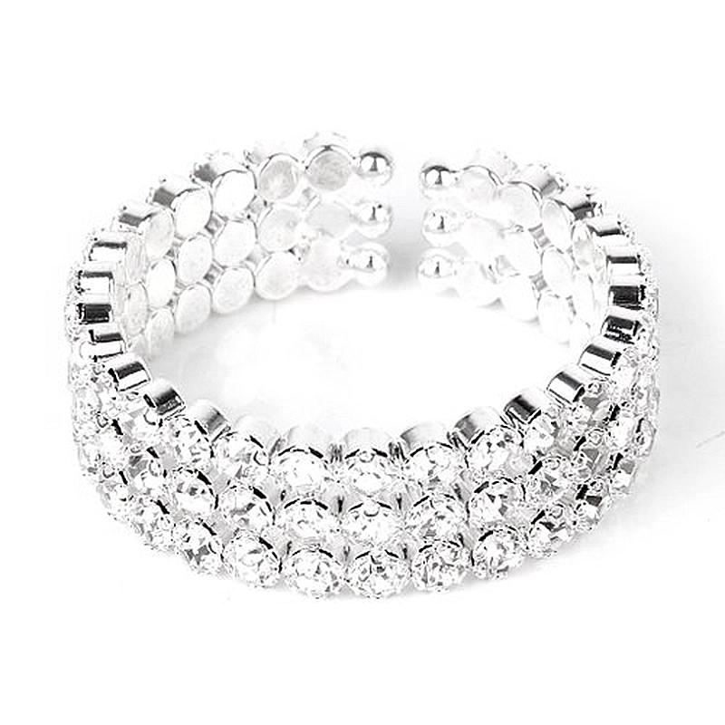【送料無料】ブレスレット アクセサリ― ブレスレットラインストーンオープンシルバー20x3 rows bracelet rhinestone open silver k8z2