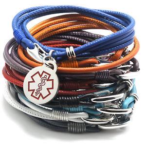 【送料無料】ブレスレット アクセサリ― デザイナーナパレザーブレスレットdesigner quality medical alert napa leather bracelet for her 12 colors