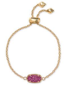 【送料無料】ブレスレット アクセサリ― スコットピンクゴールドメッキチェーンブレスレットkendra scott elaina oval chain bracelet in fuchsia drusy and gold plated