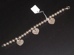 【送料無料】ブレスレット アクセサリ― ヴィンテージビーズブレスレットドロップソリッドシルバーパンチvintage beaded bracelet amp; heart drops solid silver, punched