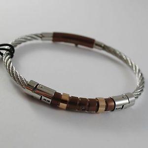 【送料無料】ブレスレット アクセサリ― ステンレスブラウンローズスチールワイヤケーブルメタルブレスレットチェーザレstainless brown amp; rose steel wire cable rigid bracelet, 4us by cesare paciotti