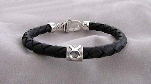 【送料無料】ブレスレット アクセサリ― シルバーレザーブレスレットtaurus silver and braided leather bracelet