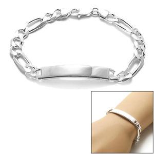 【送料無料】ブレスレット アクセサリ― スターリングシルバーフィガロリンクブレスレット925 sterling silver 8 or 9 engravable 8mm figaro link id bracelet 220