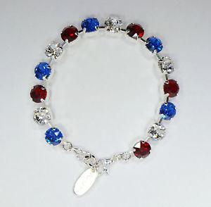 【送料無料】ブレスレット アクセサリ― スワロフスキーシルバーテニスブレスレット swarovski red white amp; blue crystal silver tone costume tennis bracelet