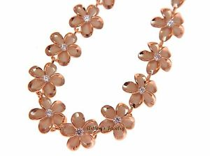 925 sterling silver pink rose gold plated Hawaiian plumeria flower rope chain necklace 17