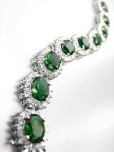【送料無料】ブレスレット アクセサリ― オロビアンコバードfantastico 18kt placcato oro bianco ovale verde smeraldo cristalli maglie