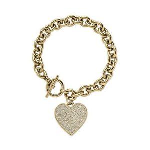 【送料無料】ブレスレット アクセサリ― ミハエルハートブレスレットドルnwt michael kors pave heart bracelet 125 gold mkj3963