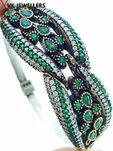 【送料無料】ブレスレット アクセサリ― トルコハンドメイドジュエリースターリングシルバーエメラルドカフブレスレットturkish handmade jewelry 925 sterling silver emerald cuff bracelet 2155