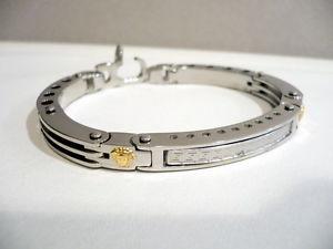 【送料無料】ブレスレット アクセサリ― ハードスチールブレスレットゴールドhard steel bracelet with gold inserts