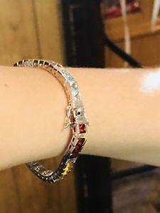 【送料無料】ブレスレット アクセサリ― テニスブレスレットsterling silver genuine stone tennis bracelet