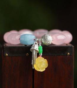 【送料無料】ブレスレット アクセサリ― ピンクローズクリスタルバレルビーズシルバーブレスレットcertified natural pinkrose crystal barrel beads 925 silver bracelet 17*12