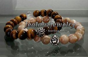 【送料無料】ブレスレット アクセサリ― メンズタンブラウンタイガーアイストレッチブレスレットmens luxury sterling silver tan brown mop tiger eye gemstone stretch bracelet
