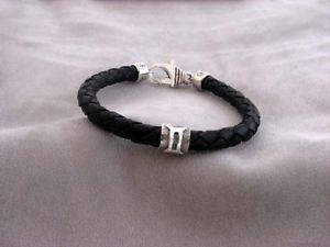 【送料無料】ブレスレット アクセサリ― ジェミニシルバーレザーブレスレットgemini silver and braided leather bracelet