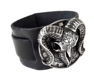 【送料無料】ブレスレット アクセサリ― ヤギブレスレットゴシックギアalchemy gothic gears of aiwass pagan goat skull leather bracelet