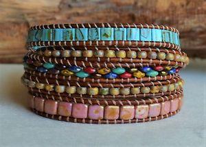 【送料無料】ブレスレット アクセサリ― マルチカラービーズレザーブレスレットボタンハンドメイドラップmulticolor beads leather five wrap bracelet hummingbird button handmade by yevga