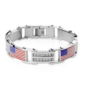 【送料無料】ブレスレット アクセサリ― メンズブレスレットリンクブレスレットアメリカフラグwomens mens bracelet links bracelet in silver with usa flag and crystals