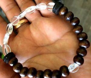 【送料無料】ブレスレット アクセサリ― アフリカクリアナットビーズウッドヒーリングブレスレットsatyaloka clear azeztulite african nut bead wood spiritual healing bracelet 75