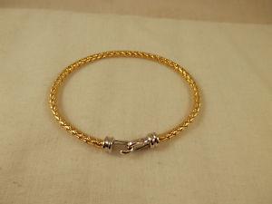【送料無料】ブレスレット アクセサリ― フックケーブルブレスレットスターリングシルバーhook amp; eye cable bracelet sterling silver amp; gold 7