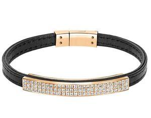 【送料無料】ブレスレット アクセサリ― スワロフスキーブレスレットサイズswarovski vio bracelet leather thin, size l goldplated crystal 5221613