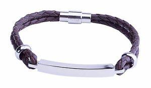 【送料無料】ブレスレット アクセサリ― スチールバーブレスレットbrown mens personalised steel bar id identity leather bracelet free engraving uk