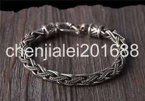 【送料無料】ブレスレット アクセサリ― スターリングシルバーファッションハンドニットブレスレットpure s925 sterling silver fashion hand knitted hemp flowers mans bracelet