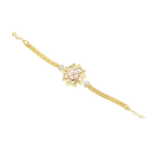 【送料無料】ブレスレット アクセサリ― スターリングシルバーマルチトーンチェーンブレスレット925 sterling silver multi tone gold plated floral chain bracelet jewelry