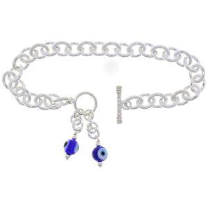 【送料無料】ブレスレット アクセサリ― スターリングシルバーガラスビーズオーバルチェーンブレスレット925 sterling silver 9 blue evil eye glass bead oval rolo chain charm bracelet