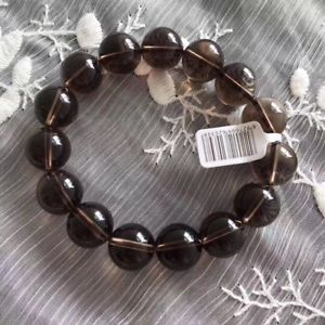 【送料無料】ブレスレット アクセサリ― ナチュラルブラウンクオーツスモーキークオーツビーズブレスレットnatural brown quartz smoky quartz crystal round carved beads bracelet 14mm aaaa