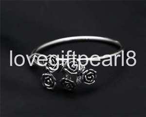 【送料無料】ブレスレット アクセサリ― スターリングシルバーレトロシンプルバラブレスレットpure s925 sterling silver retro simple rose bouquet telescopic womens bracelet