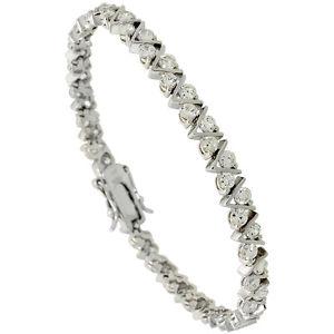 【送料無料】ブレスレット アクセサリ― スターリングシルバーリンクテニスブレスレットsterling silver 525 ct cz vlink tennis bracelet