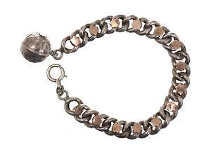 【送料無料】ブレスレット アクセサリ― 1900スターリングチェーンブレスレットantique bracelet in sterling silver chain with charm about 1900