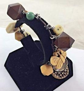 【送料無料】ブレスレット アクセサリ― ビーズスターリングシルバーブレスレットbeaded, butterfly, carved char leather wrapped 925 sterling silver bracelet 7