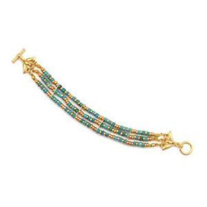 【送料無料】ブレスレット アクセサリ― ゴールドエジプトクレオパトラターコイズトリプルストランドトグルブレスレットgold finish egyptian cleopatra turquoise triple strand toggle bracelet 7