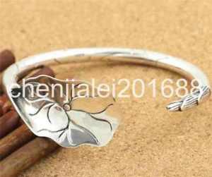 送料無料 ブレスレット 激安通販専門店 アクセサリ― s925スターリングリバイバルハスブレスレットpure s925 sterling silver delicate lotus womens retro adjustable bracelet 新品 送料無料