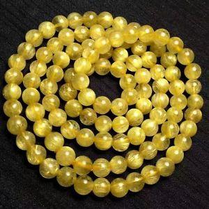 【送料無料】ブレスレット アクセサリ― ルチルストレッチラウンドビーズブレスレットnatural gold rutilated quartz stretch round beads bracelet 7mm aaa