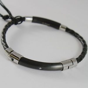 【送料無料】ブレスレット アクセサリ― cesare paciotti 4us 4ubr1534men steel bracelet and semirigid leather cesare paciotti 4us 4ubr1534